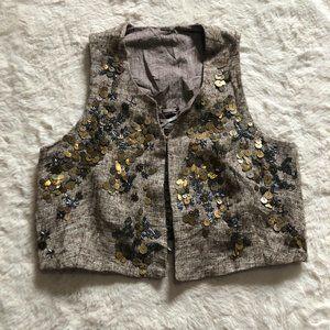 Dosa yak wool blend beaded crop lace up back vest women's size 2
